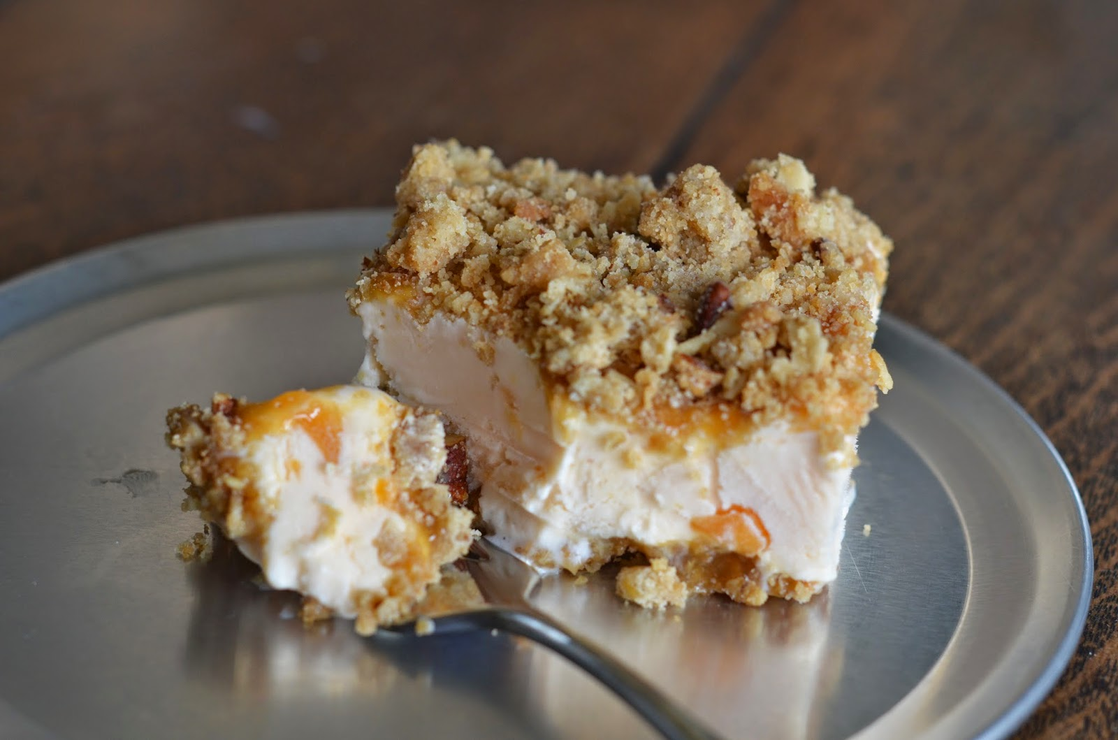 Peach Caramel Crunch Ice Cream Dessert