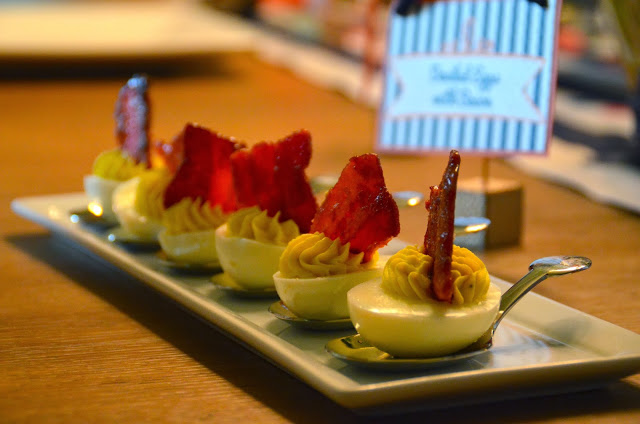 Deviled Eggs - Candied Bacon